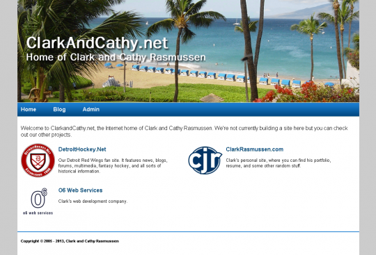 The placeholder home page of ClarkAndCathy.net, with links to site we actually use.