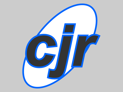 """The original """"CJR"""" logo, my initials in lower-case inside a skewed oval."""