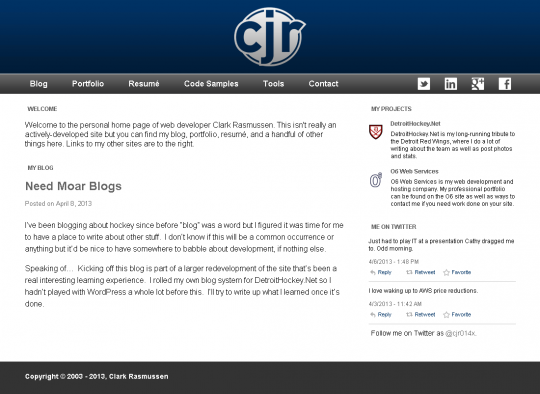 The ClarkRasmussen.com home page, featuring content pulled in from the blog.