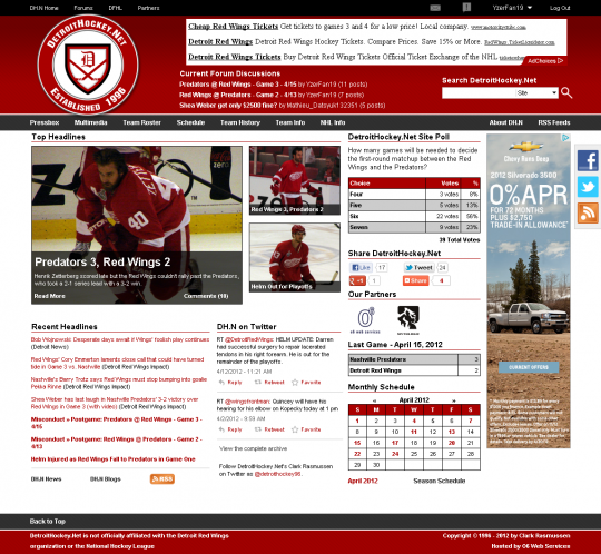 The redesigned DetroitHockey.Net home page. More photos are featured and there are fewer lists of headlines. The header has been cleaned up, with important items more visible.