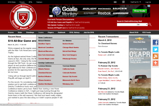 The DetroitHockey.Net navigation system was updated to allow for drop-down menus with additional styling.