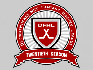 The DetroitHockey.Net Fantasy Hockey League's 20th season logo, based on the Stanley Cup Finals logos of the late 1990s.