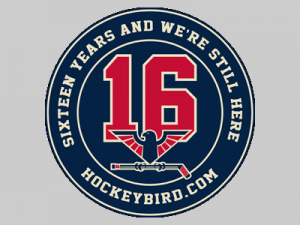"The HockeyBird.com Sixteenth Season logo. Designed based on the New York Rangers' ""vintage"" alternate jersey and featuring a recolored version of the HockeyBird.com logo."