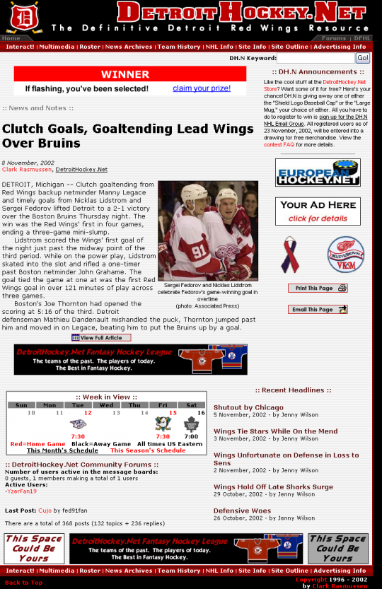 A view of the drwcentral.net home page as seen after the transition to DetroitHockey.Net.