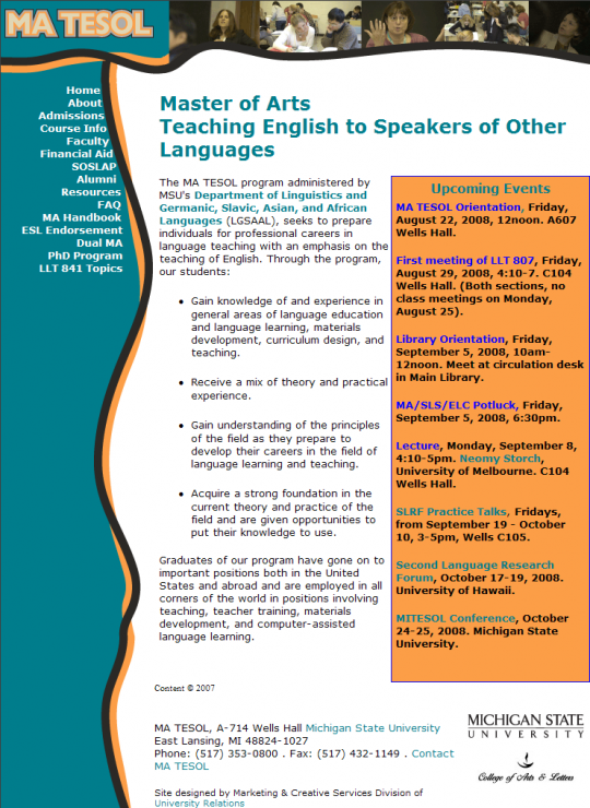 """A view of the MA TESOL home page. Originally the menu was limited to abide by the """"Rule of Seven"""" but that didn't last long."""