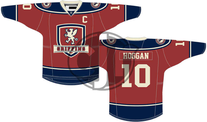 My updated Griffins concept jersey, red with blue shoulders.