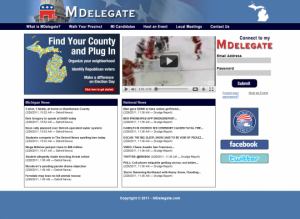 The MDelegate home page, showing news headlines, a YouTube video, and a user login form.