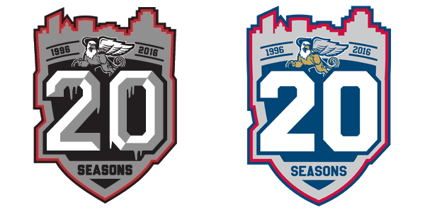 Side-by-side comparison of the Griffins' 20th season logo and my take on it.