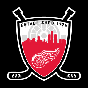 """An alternate version of my """"Hockeytown"""" concept logo on a black background."""