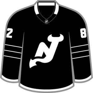 "A ""Brooklynified"" New Jersey Devils concept. Black, white, three stripes for three Stanley Cups, and a white, stripped-down logo."