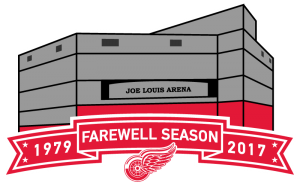 """Revised concept for a Joe Louis Arena """"Farewell Season"""" logo without a bounding shape."""