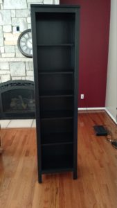 """A completed Ikea """"Hemnes"""" bookcase."""